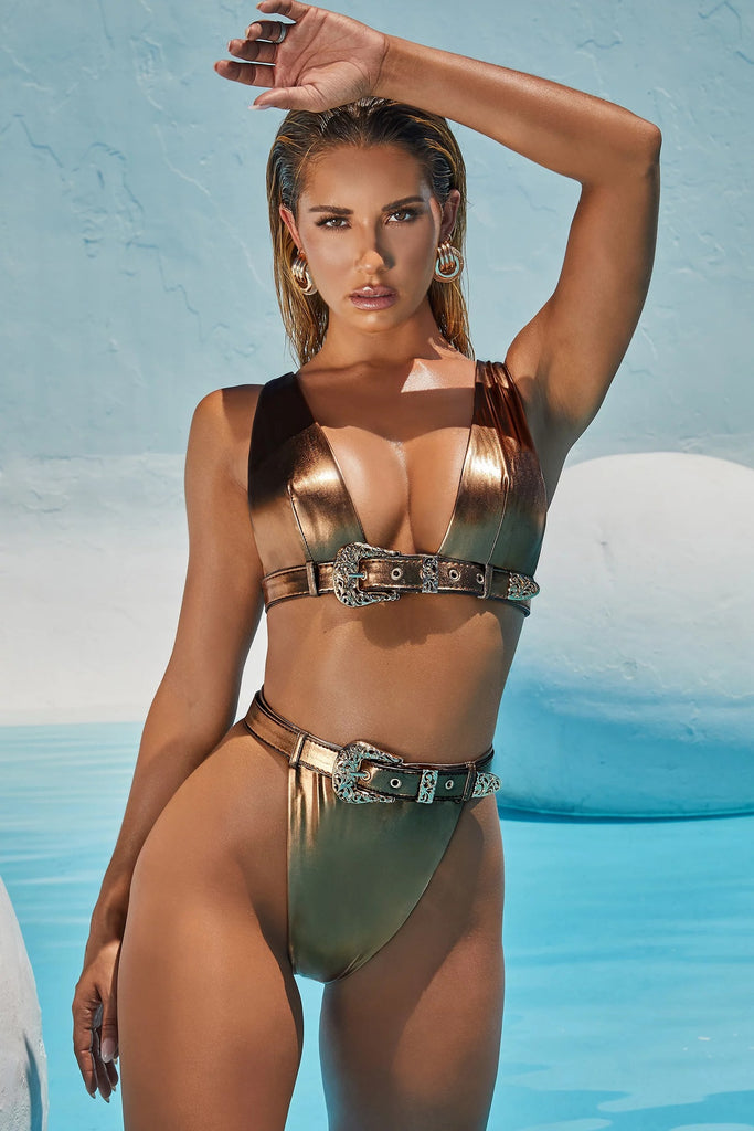 Sexy Gold Metal Button Cut Out Swim Sets