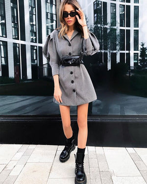 Gray Solid Color Fashion Street Style Mini Dress