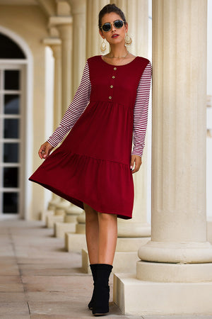 Striped Long-sleeved Stitching A-line Dress