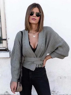 New Lace-up Sweater V-neck Versatile Cardigan