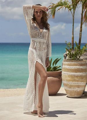 Lace Embroidered Bikini Overalls Sunscreen Shirt