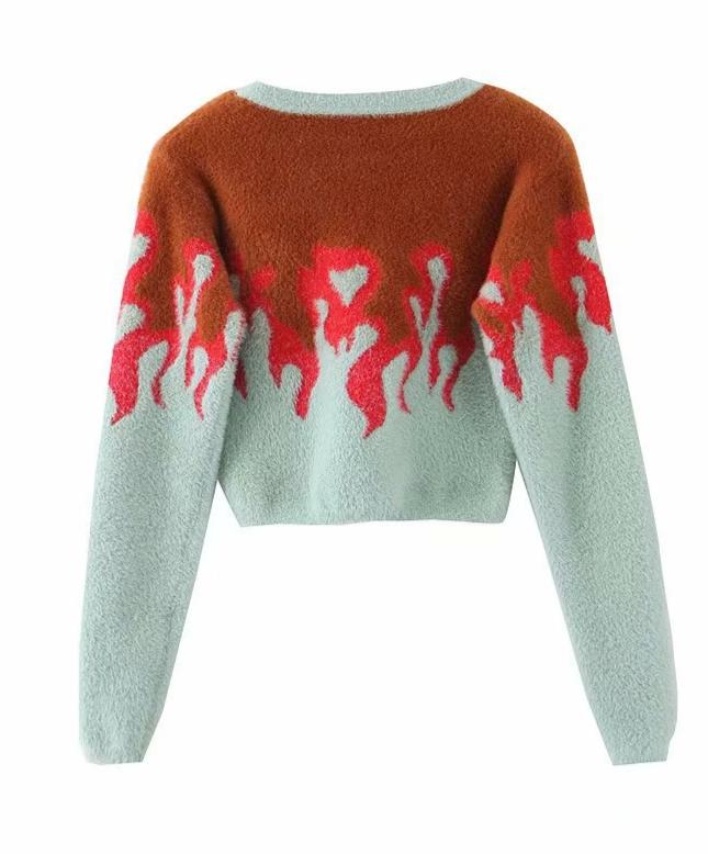 Flame Pattern Imitation Mane Short Pullover Sweater