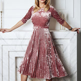 Gold Velvet Elegant Belt Long-sleeved Pleated Dress