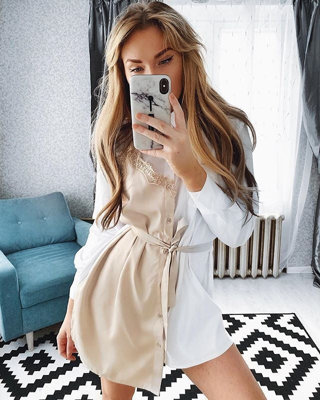 Lace Stitching Shirt Dress