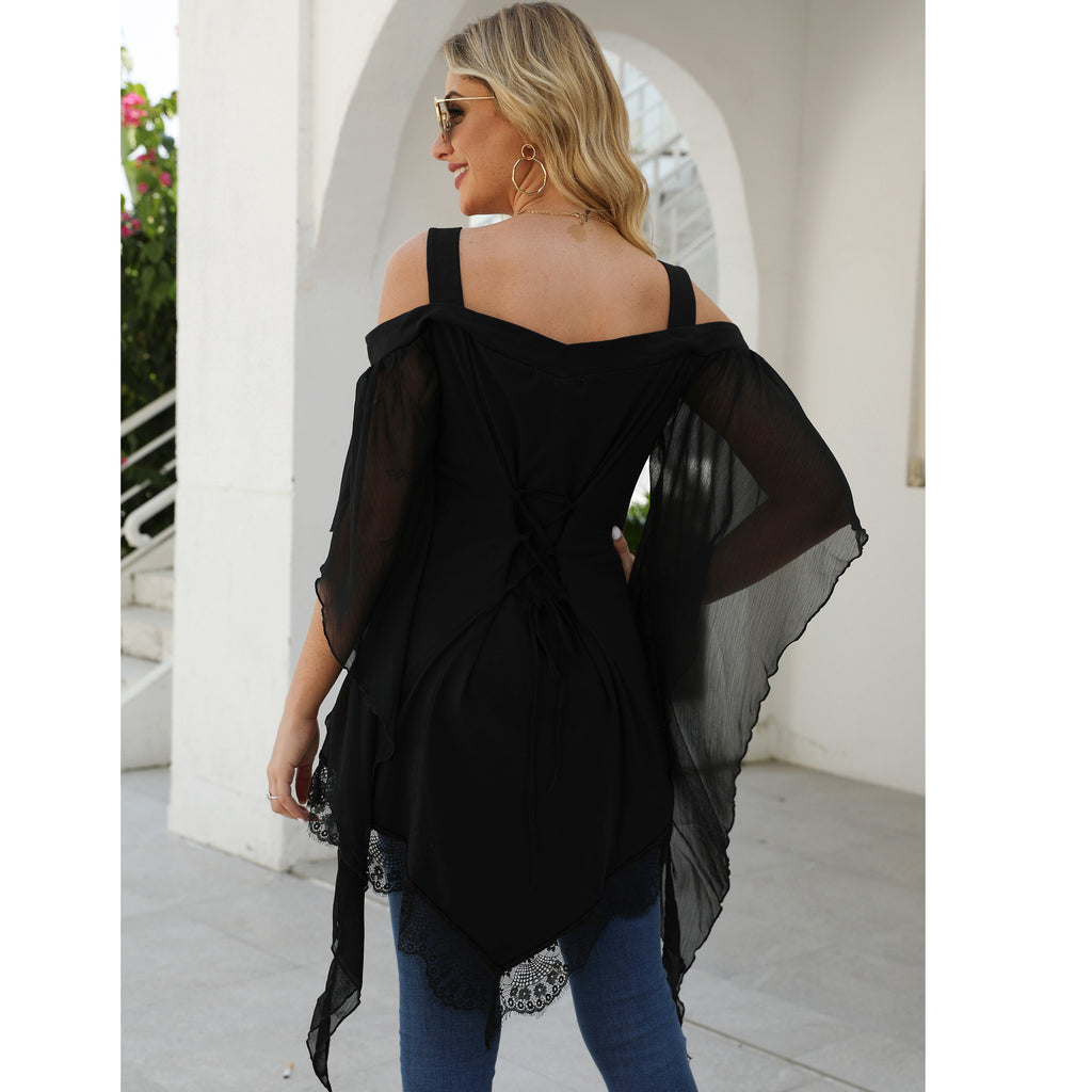 V-neck Irregular Black Off-the-shoulder Waistband Lace Up Women's Thin T-Shirt