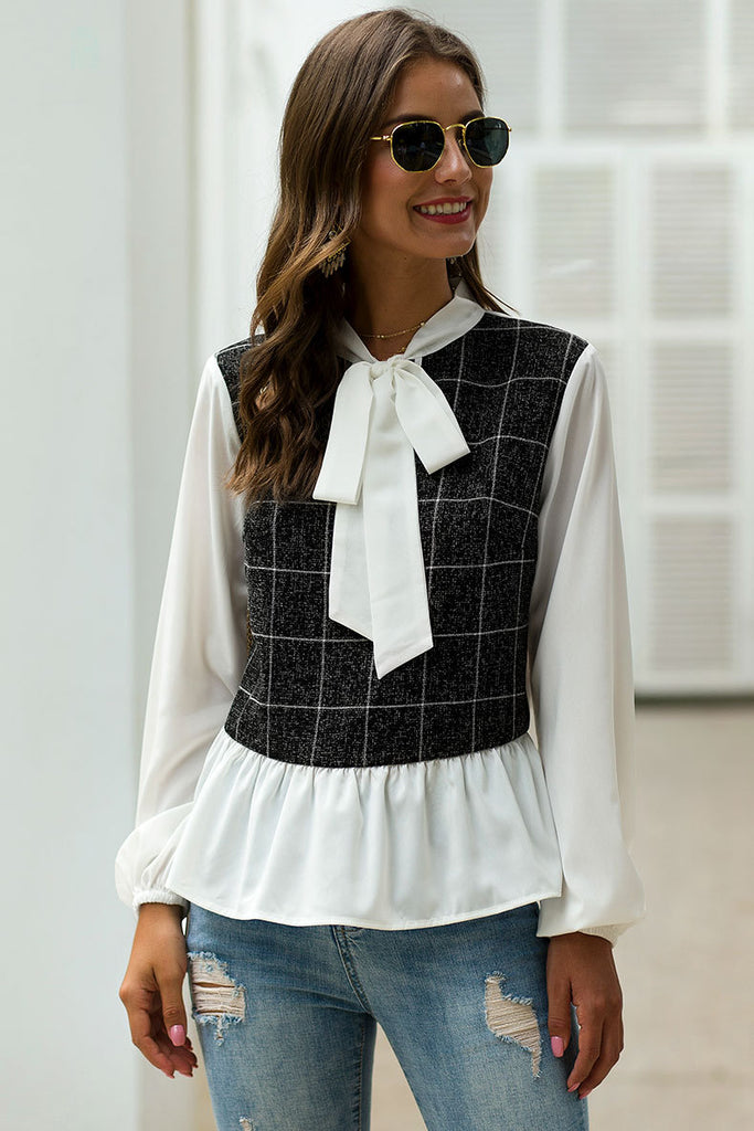 Lantern long-sleeved butterfly collar plaid spell receiving waist ruffled versatile top