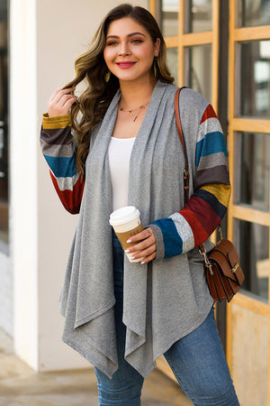 Colorful Striped Splicing Long Sleeve Large Size Casual Cardigan
