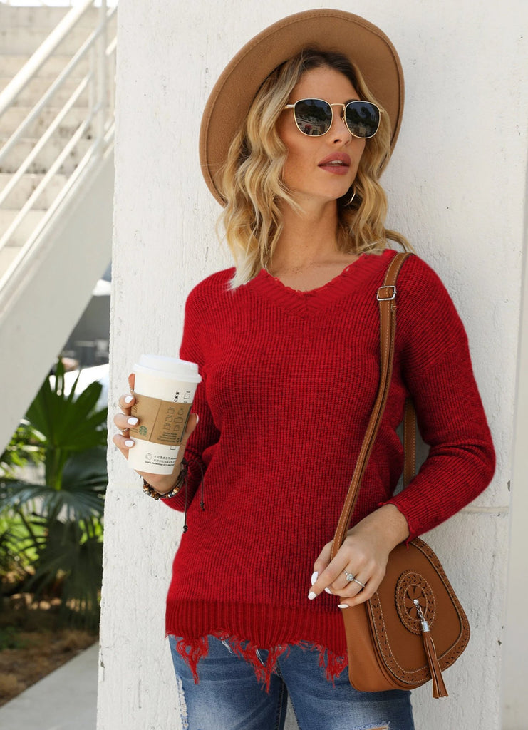 Pullover V-neck solid color fringed women's loose knitted sweater