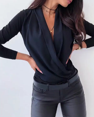 Sexy Deep Fashion Long Sleeve Street Style Tops