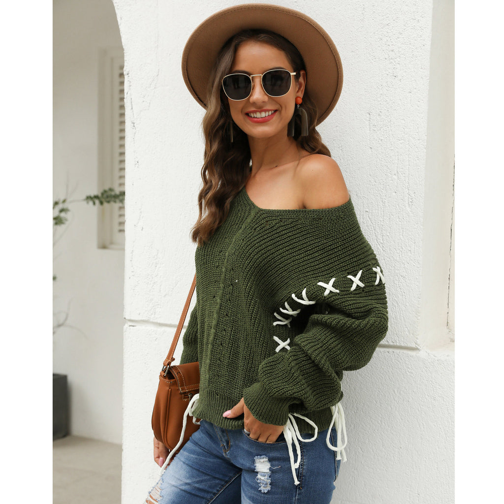 Green Round Neck Cross Lace Backless Women's Loose Knit Sweater
