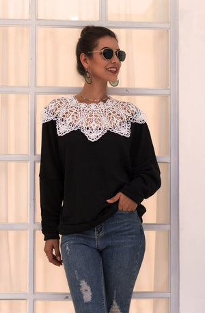 Lace Cutout Sexy Panel Knit Top