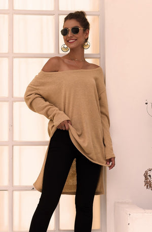 Long-sleeve Off-shoulder Split Knit Sweatshirts