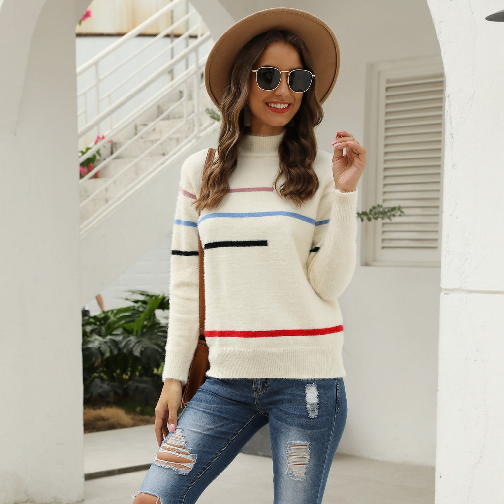 Pullover Turtleneck Fleece Striped Loose Women's Knit Sweater