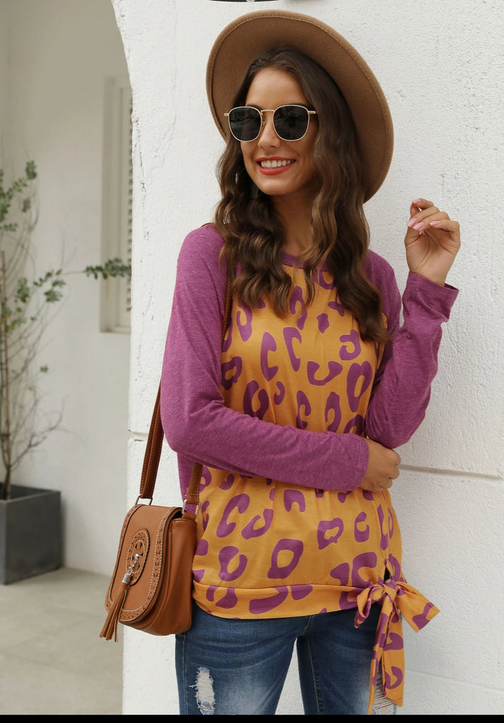 Purple Round Neck Stitching Leopard Casual T-shirt
