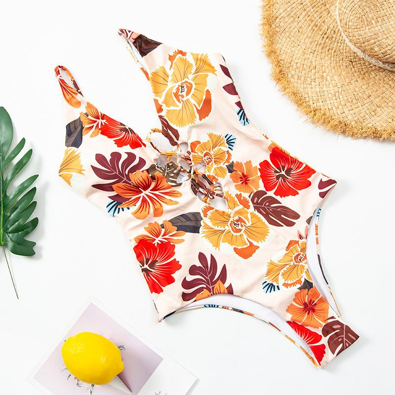 Print Sexy Criss Cross Bathing Suit One Piece Swimsuit