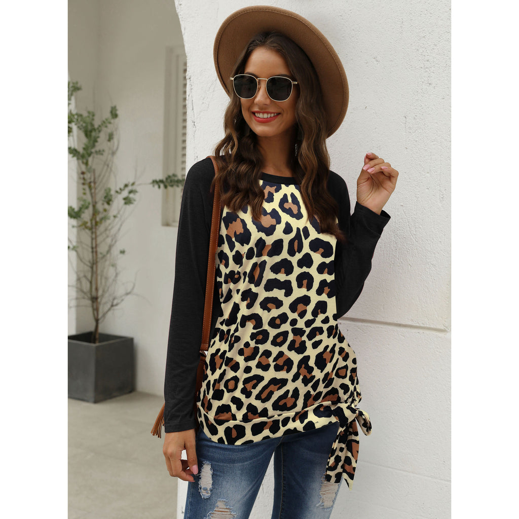 Fashion round neck solid color stitching leopard hem lace-up women's casual T-shirt