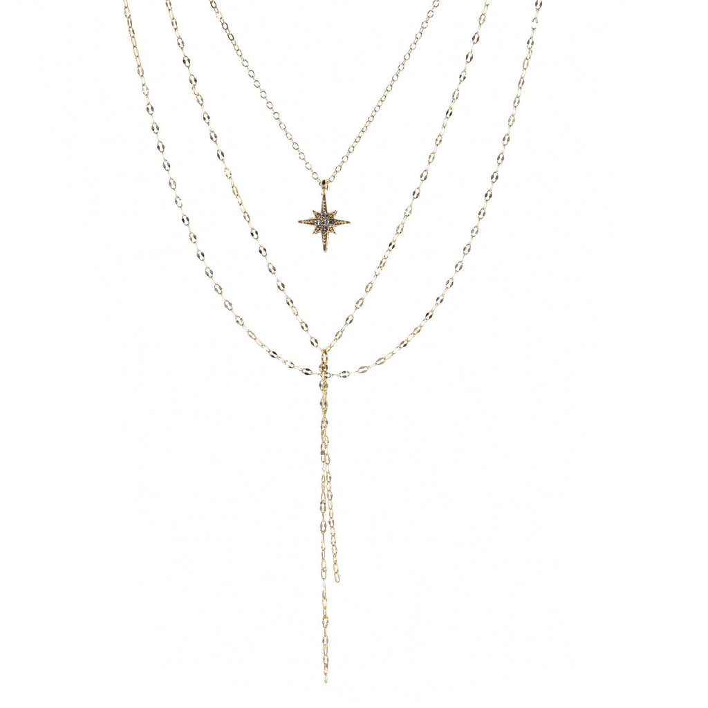 Tassel Y Pendant Female Multilayer Star Diamond Necklace
