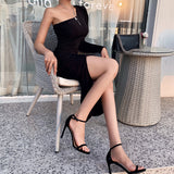 Sexy Slanted Shoulder Black Dress