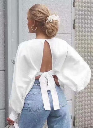 Satin Knotted Backless Sexy Short Shirt