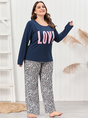 LOVE Printed Round Neck Long Sleeve Shirt Leopard Print Trousers Pajamas XL-4XL