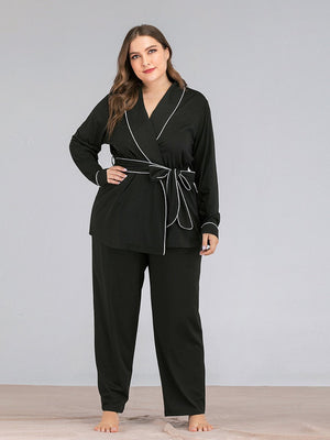 Fashion Solid Color Striped Lapel Collar Long Sleeve Belt Pajamas Two Piece Suit XL-4L