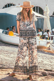 Boho Floral Print Loose Top and Long Pants Sets Suits