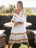 Bohemia Deep V-Neck Embroidered Maxi Dresses