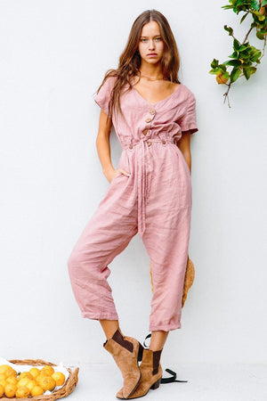 Single-breasted Wild Cropped Jumpsuit