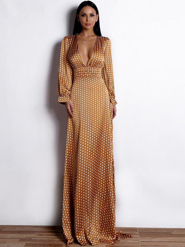 Long Skirt Sexy Deep V-neck Dot Elegant Bohemian Slit Dress