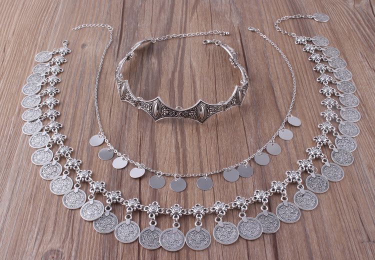 Bohemian Carved Flower Silver Coin Necklace Suits