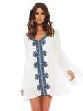 Women Sexy  Loose Cotton Butterfly Sleeve V-neck Beach Dress