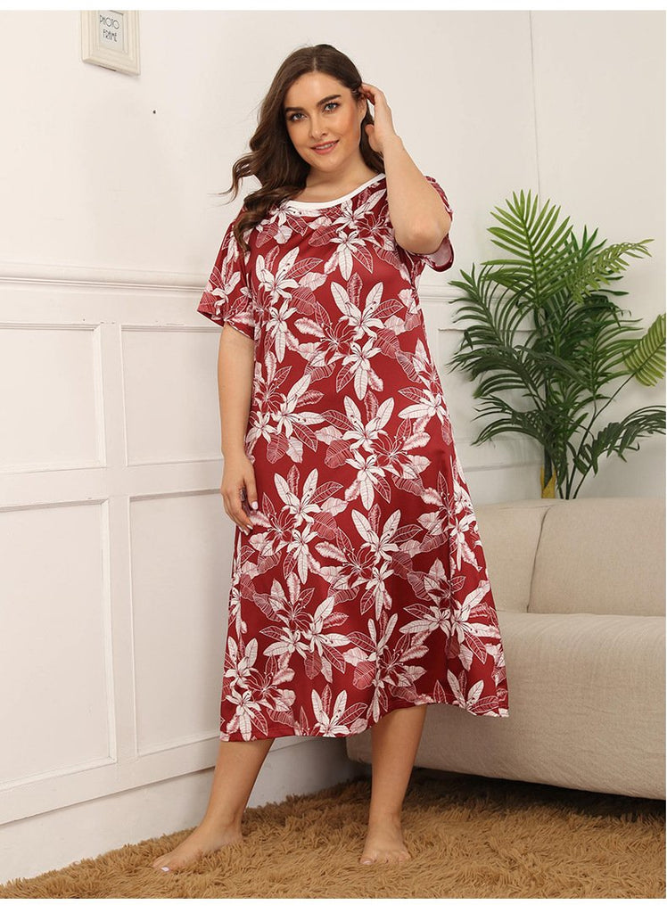Small floral loose mid-length knee-length nightdress XL-4XL