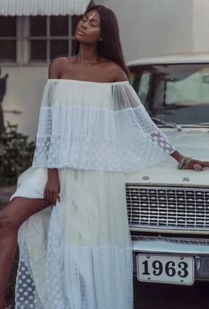 Vacation Hollow Lace Stitching Mesh Off Shoulder Dress