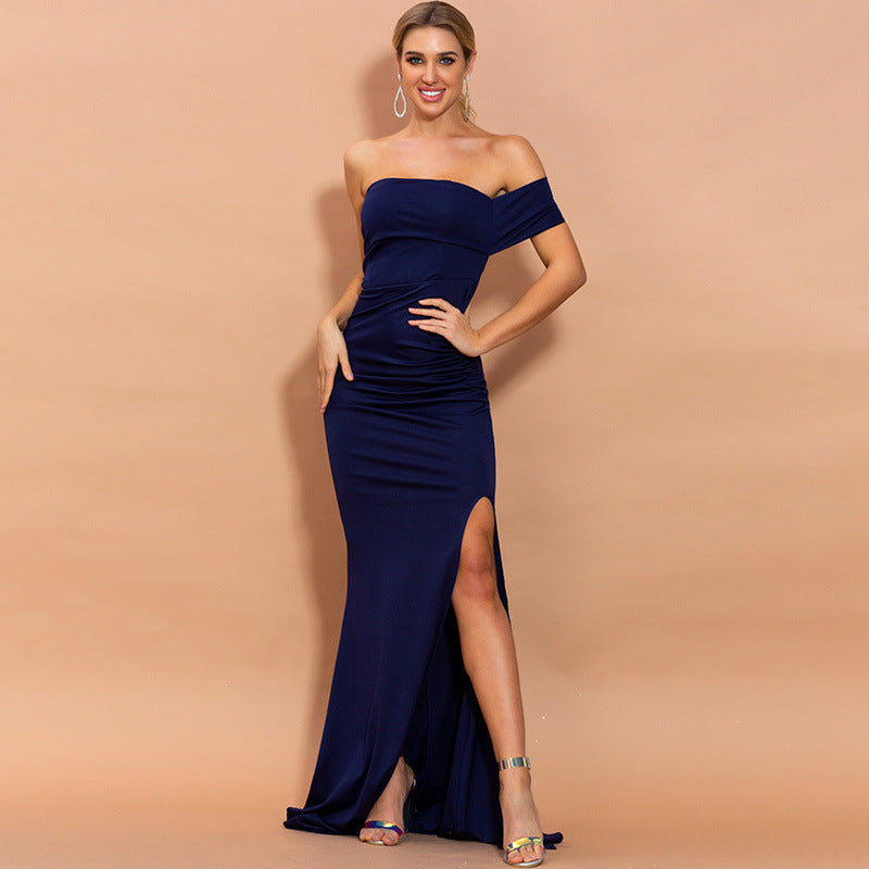 High Split Dresses Female Navy Color Elegant Maxi Dress