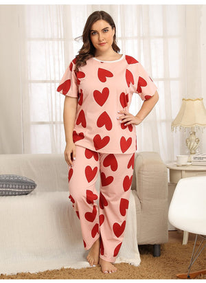 Summer short sleeve love printed round neck pajamas set XL-4XL