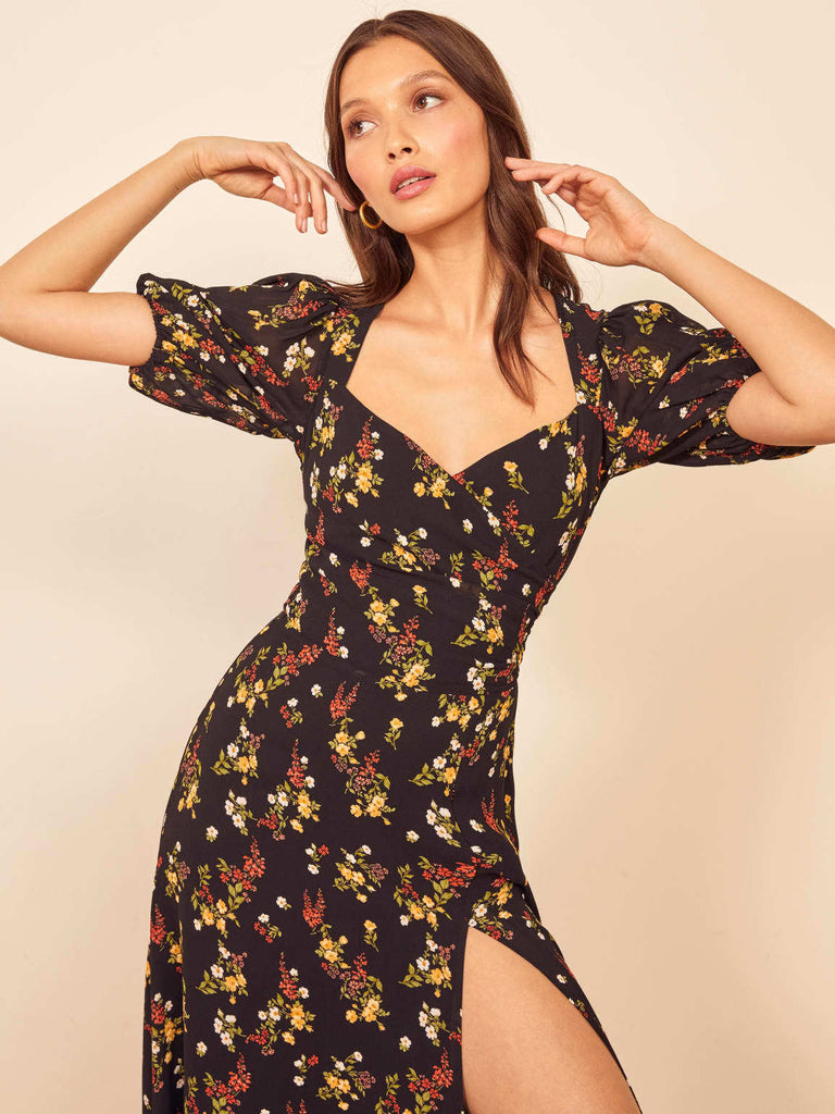Small Floral Low-cut Sexy Back Cutout Side Split Dress