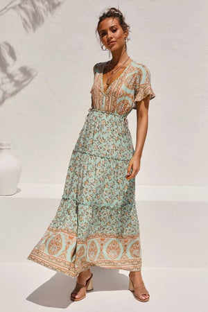 High Waist Short Sleeve Holiday Printed Boho Maxi Dress