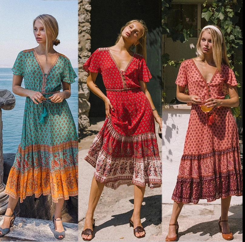Bohemian Print Hem Patchwork Retro V-neck Single Boho Dress