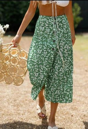 Elegant Ruffled High Waist Green Skirt
