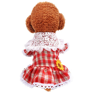 Teddy Bear Cat Princess Lace Lapel Red Plaid Skirt