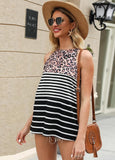 Leopard Print Black And White Stripes Contrast Pullover Sleeveless T-shirt