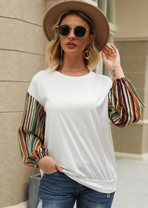 Long-sleeved Striped Panel Round Neck Pullover T-shirt