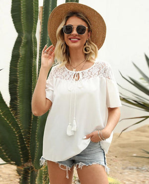 Fashion White Color Lace Short Sleeve Lace T-Shirts