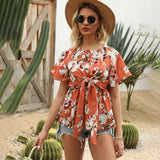 Printed Floral Tie Bow Short Sleeve T-shirt