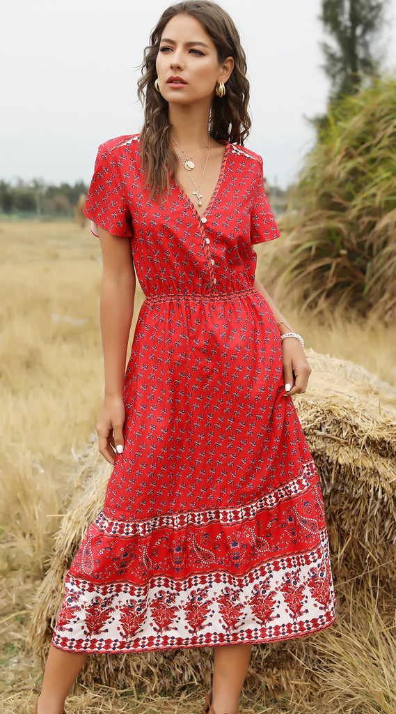 Botton Red Color Floral Printed Boho Maxi Dresses