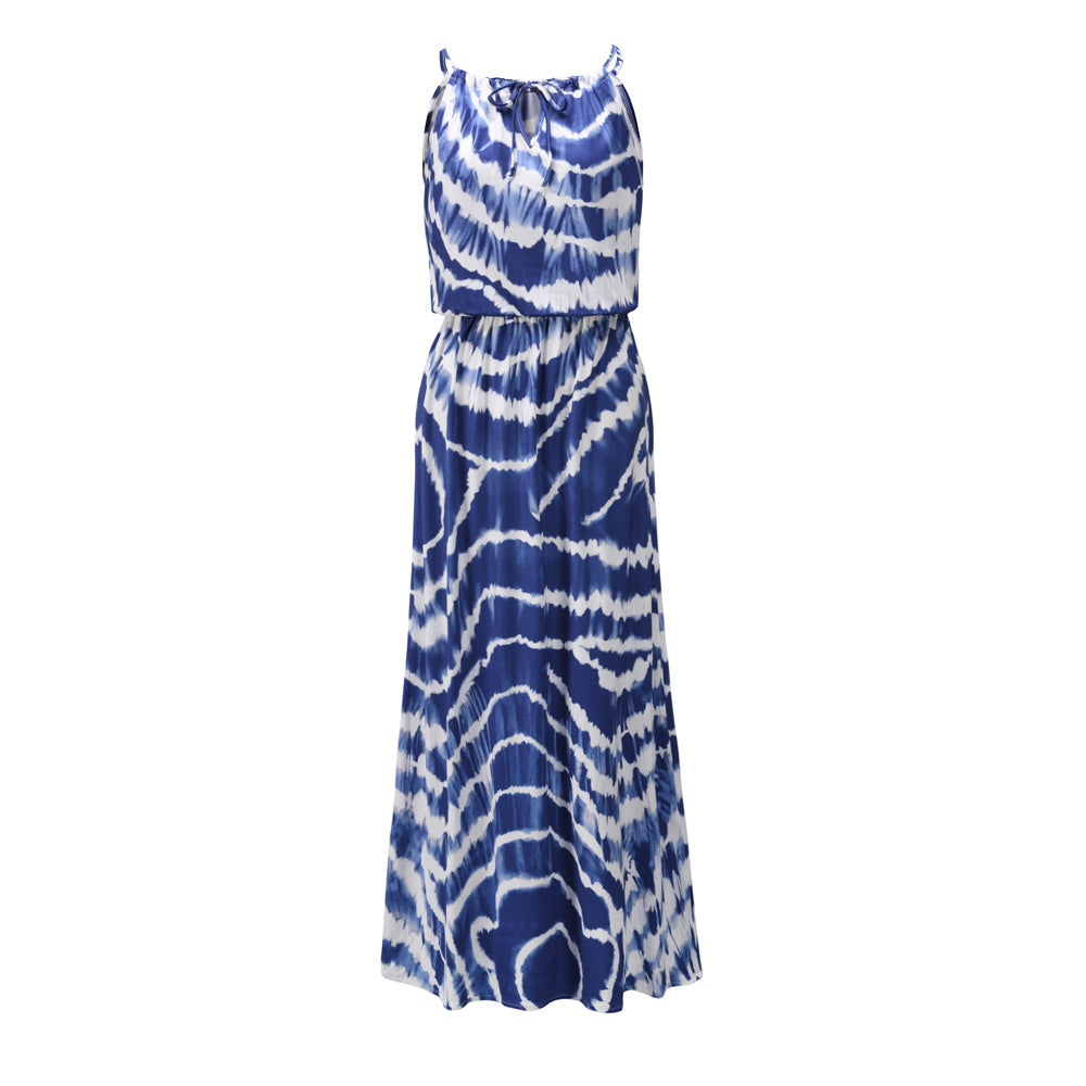 Tie Dye Printed Sleeveless Sling V-neck Casual Loose Maxi Dress
