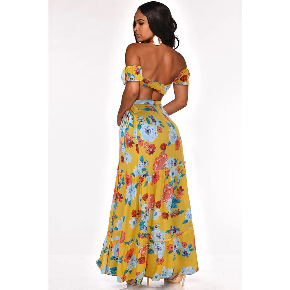 Floral Printed Tops + Skirts 2 Pieces Suit Sets Maxi Dresses