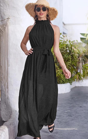 Polka Dot Elegant Ruffle Halter Maxi Dress
