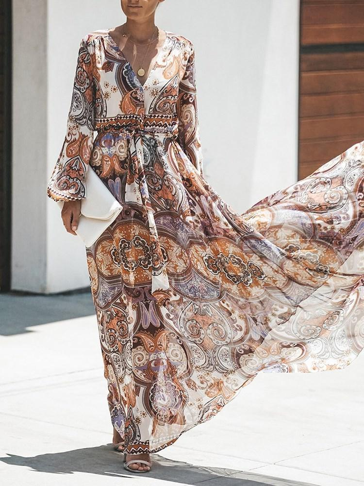 Floral Printed Long Sleeves Maxi Dress