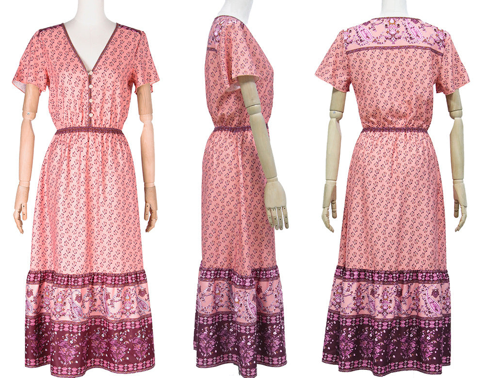 Botton Pink Color Floral Printed Boho Maxi Dresses